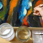 Acrylgemälde- Farbschichtfestigung