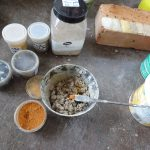 Mischen Putzergänzungsmörtel – Arbeitssituation