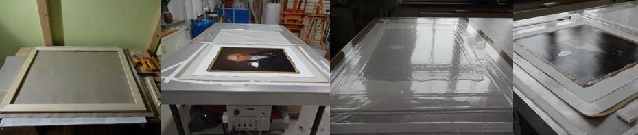 Vorbereitung einer Doublierleinwand, Doublierleinwand und Gemälde auf dem Vakuum-Heiztsich, Gemälde mit Doublierleinwand auf dem Heiztisch unter Vakuum, Doubliertes Gemälde nach der Behandlung (von links nach rechts)