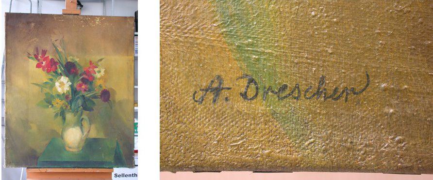 Vorzustand und Detail der Signatur
