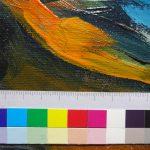 niedergelegte Farbscholle (nach Konservierung)